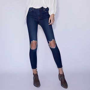 NWT Free People High Rise Busted Knee Skinny Jeans